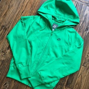 Nike // lightweight Neon Green Zip Hoodie